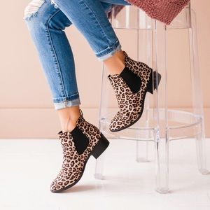 Lucy Avenue Slip On Leopard Ankle Booties
